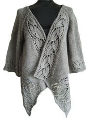 Dramatic Lace Wrap Cardigan Knit Pattern Download from Anniescatalog.com -- Dramatic, bold lace panels are the main elements that define this gorgeous top-down design. The slight fullness of the sleeves gives the cardigan a kimono-like air and makes this an easy layering piece over tunics, as well as your slim-fitting tops.