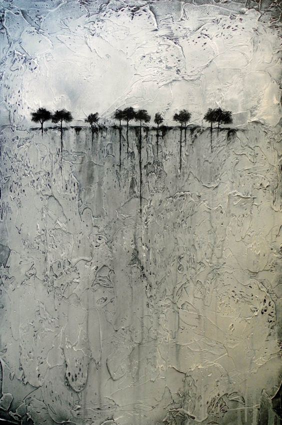 This painting is heavily textured and portrays abstract trees on the horizon. It reminds me of a ship arriving at a new land and seeing the trees through the parting mist. It has a mysterious beauty to it. DONT LET YOUR FAVORITE PAINTING SLIP AWAY! ASK ME ABOUT DEPOSIT HOLDS AND LAYAWAY PAYMENT PLANS!    ____________________________________________________________    TITLE: At Worlds End    SIZE: 24 x 36    MEDIUM: Professional Acrylic Paints and Impasto Textures    FRAME: 1.75 deep wooden…