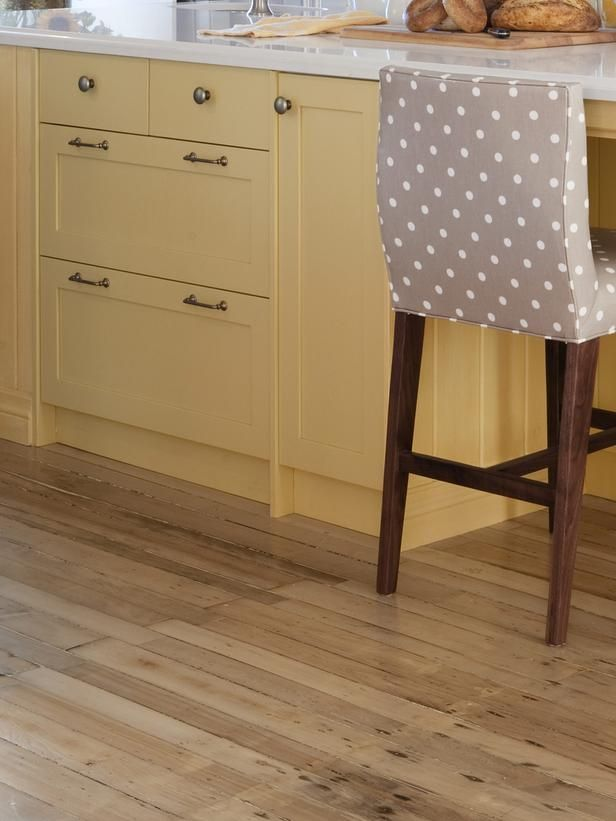 """""""Barstool style has fabric - which gives the 10% accent color & TEXTURE.""""---------      (Yellow Paint + Hardwood Floors - Sarah Richardson's Kitchen Design Recipes on HGTV)"""