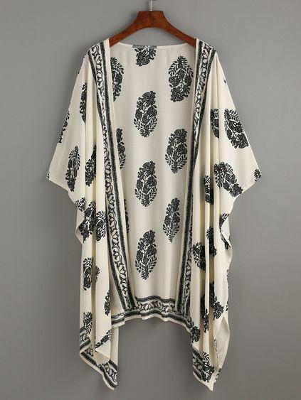 Beige Vintage Pattern Print Kimono Mobile Site