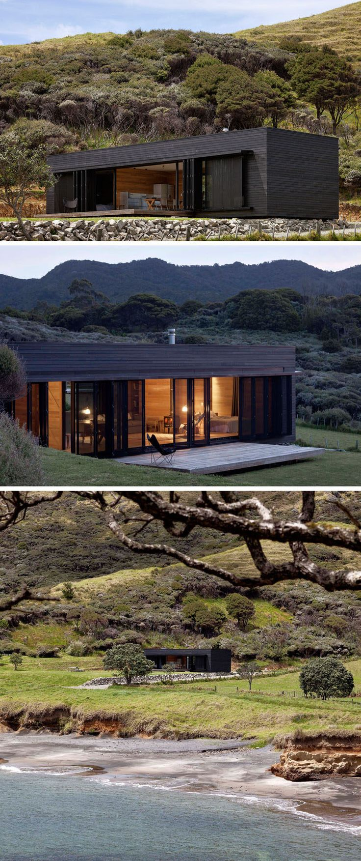 13 Totally Secluded Homes To Escape From The World // The Storm Cottage by Fearon Hay Architects has been designed to be completely off the grid. Located in a remote location on Great Barrier Island in New Zealand, this secluded place would be great for a rejuvenating retreat.