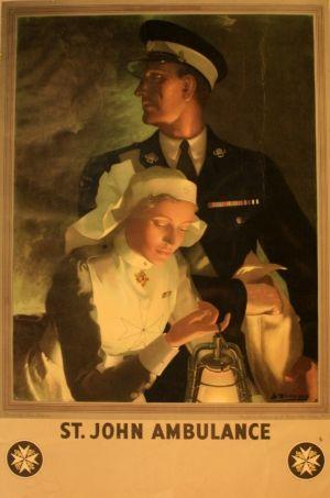 St John Ambulance, 1930s - original vintage poster by Anna Zinkeisen listed on AntikBar.co.uk
