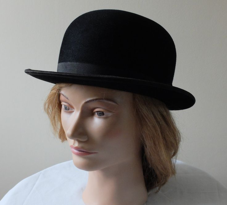 Vintage black bowler hat with silk ribbon trim by English House of Bordeaux by FrenchModeVintique on Etsy
