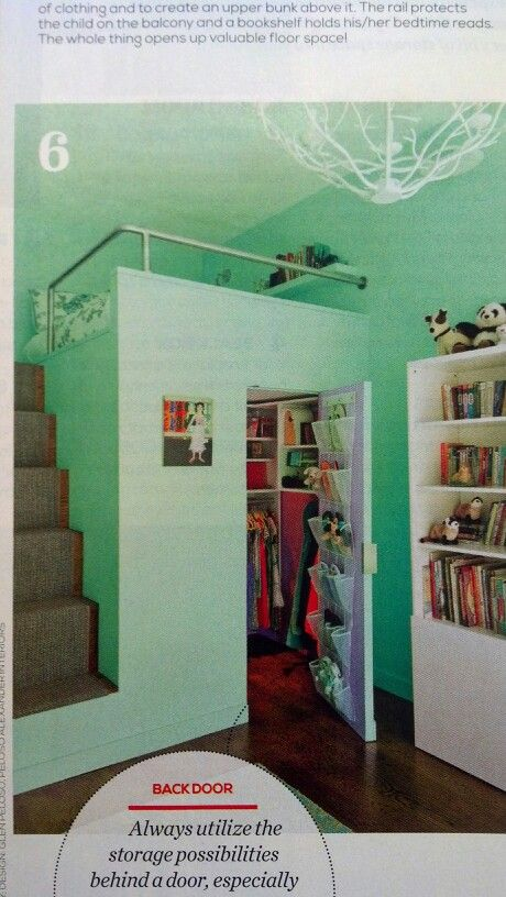 Loft bed with closet underneath. Super cute for kids room.