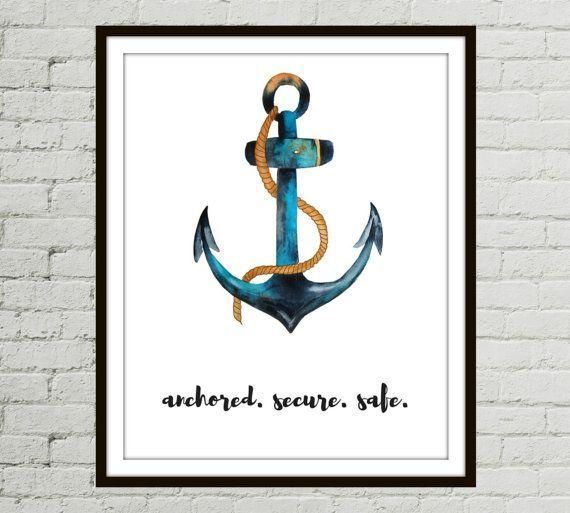 Anchor Wall Decor Anchor Printable Watercolor Anchor Boho Printable Anchor Boho Nautical Print Anchor Dig Nautical Prints Anchor Wall Decor Nautical Print
