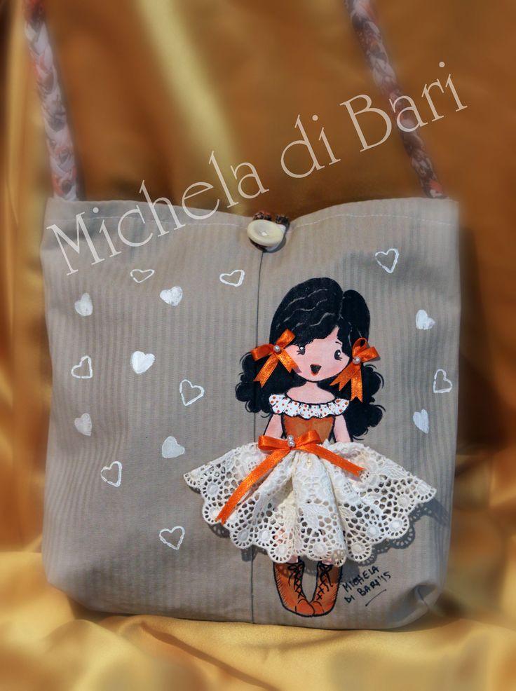 Borsetta bimba ♥ Pizzo sangallo nastrini e perline  Totalmente realizzata a mano e dipinta a mano € 30 + SP Info 3203087887