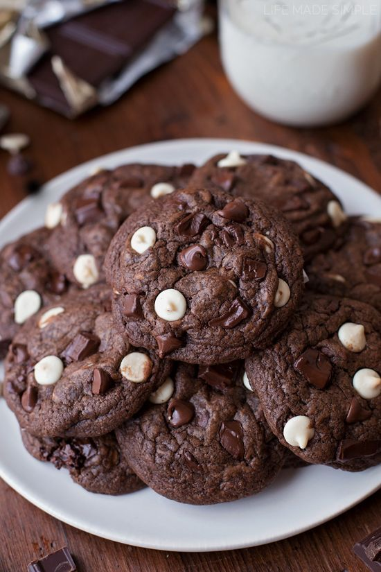 These thick and chewy triple chocolate cookies are for extreme chocolate lovers only! They're loaded with white, semisweet and bittersweet chocolate chips & chunks.