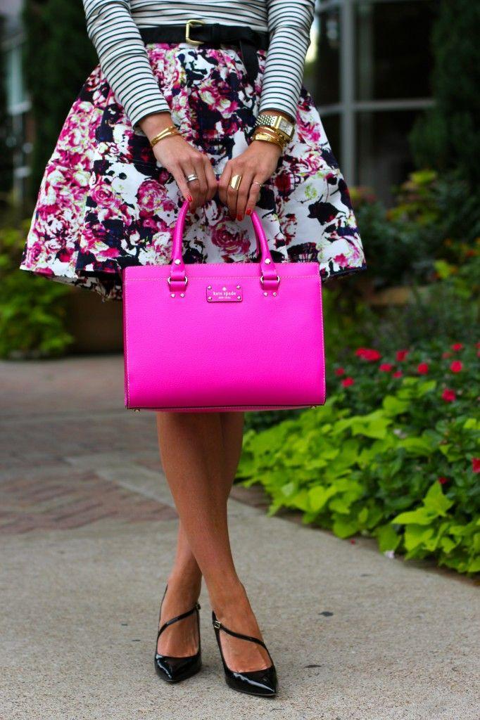 floral skirt, pink kate spade bag, & black heels.