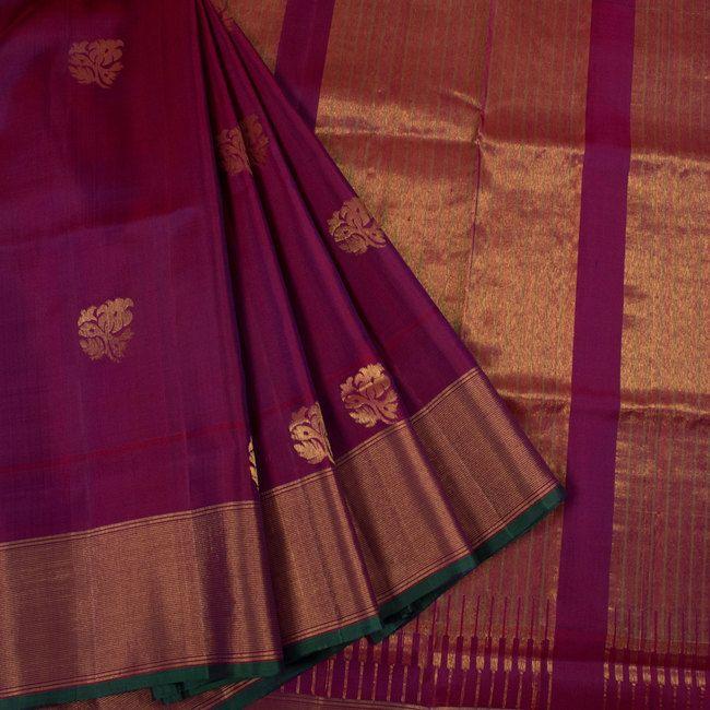 Handwoven Uppada Silk Saree With Neelambari Butta & Tissue Zari Border 10023137 - AVISHYA.COM