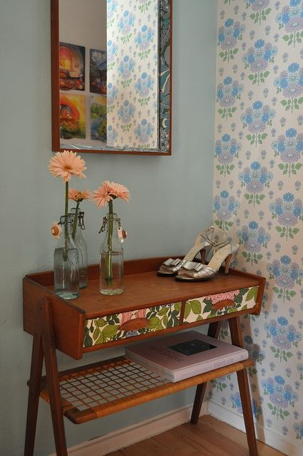 Wallpaper covered drawers
