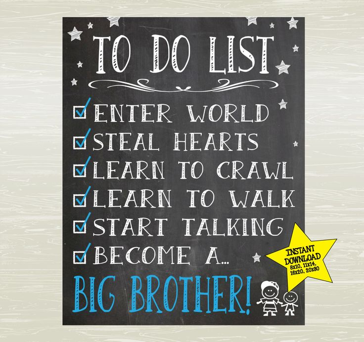 Chalkboard Style Big Brother Poster; Pregnancy Announcement ; INSTANT download by KatesKanvas on Etsy https://www.etsy.com/listing/387396498/chalkboard-style-big-brother-poster
