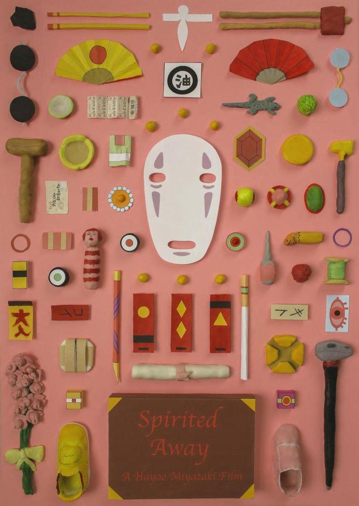 Miyazaki Filmlerinin Kilit Eşyalarıyla Simetrik Afişler * Bigumigu