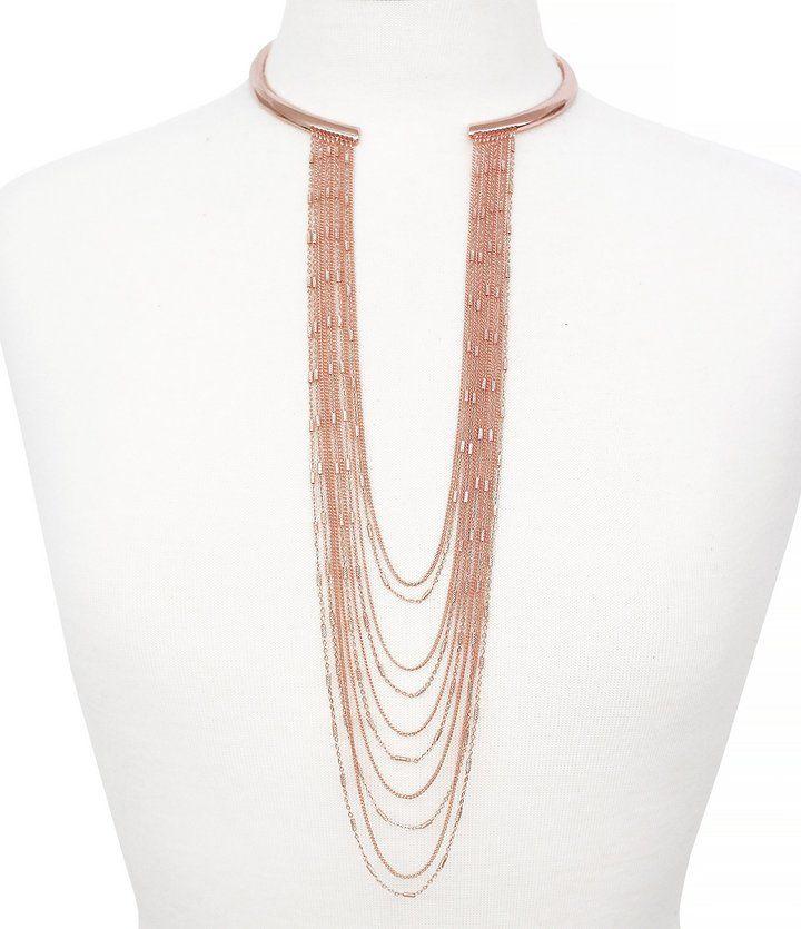 Jessica Simpson Rule Breaker Draped Chain Statement Necklace