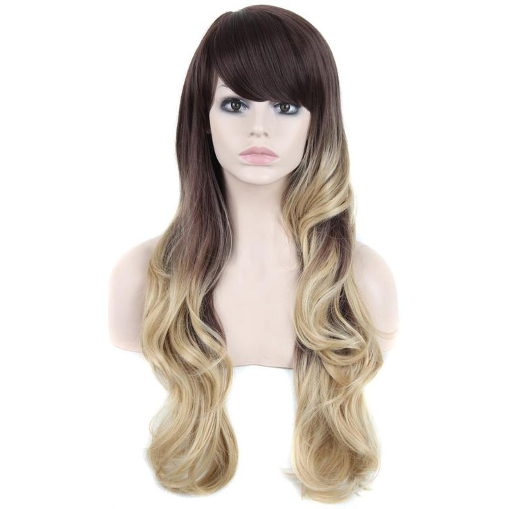 Wig sintetis Panjang Bergelombang Ombre Rambut Panjang Wig untuk Wanita New Fashion Hitam Afro Peruca