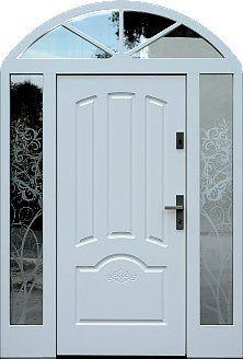 Drzwi zewnętrzne z dostawką boczną i naświetlem górnym wzór 502,1+d1 w kolorze białe