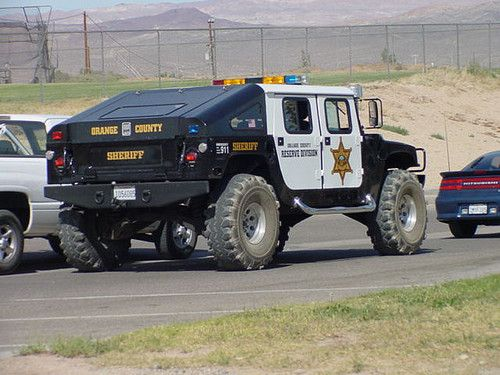 Orange County Sheriff. Tell me i get to drive a hummer in the civilian world every day...sign me up. If only they knew how much these things brake