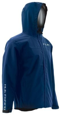 Huk Packable Rain Jacket for Men- - Navy - 2XL