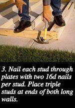3. Nail each stud through plates with two 16d nails per stud. Place triple studs at ends of both long walls.