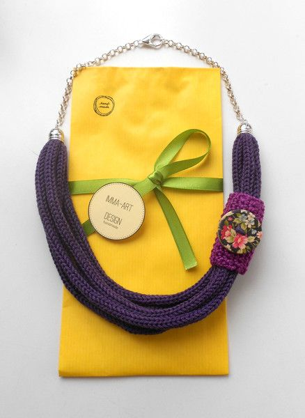 Collane corte -  Collana Tricot Viola - un prodotto unico di FlamiFla su DaWanda