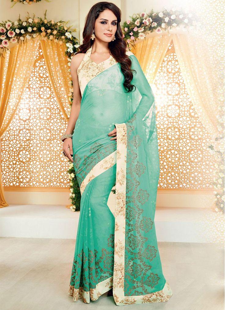 Sari Design Vert Piquant Faux mousseline de soie design - Avena sari