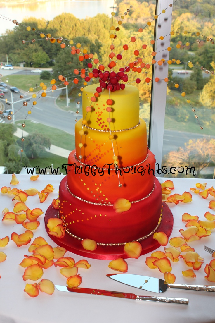 red and yellow wedding cake explosion!  by Fluffy Thoughts Cakes