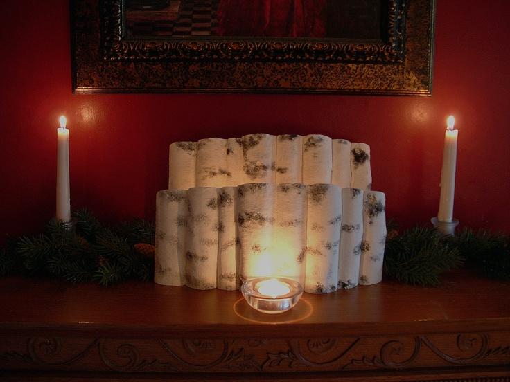 Birch log wall mantel scene -  2 piece convex set. $50.00, via Etsy.