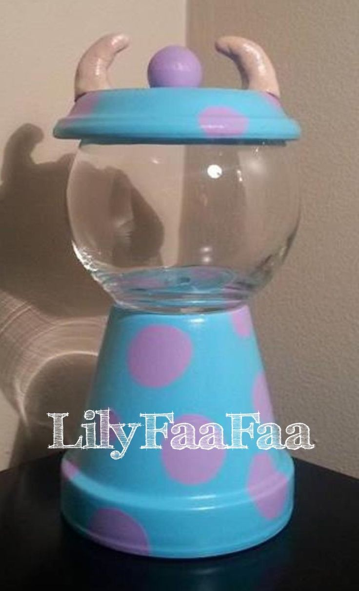Sulley Monster Gumball Machine, Flower Pot Candy Jar, Hand Painted Candy Dish, Centerpiece, Gumball Machine, Home Decor, Hand Painted, Candy Dishes, Candy Jar, Bank, Cookie Jar, Decanter, Gumball Machine, Candy, Terrarium,  Fish Bowl, Kids, Monsters, Terra Cotta, Clay Pot, Painting Ideas
