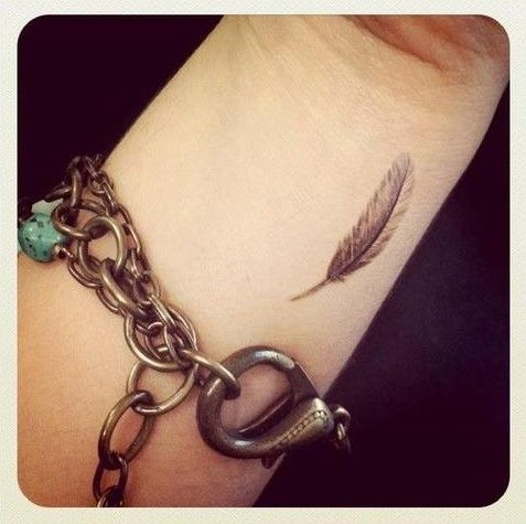 feather wrist tattoo- go back and forth about the tattoo idea -