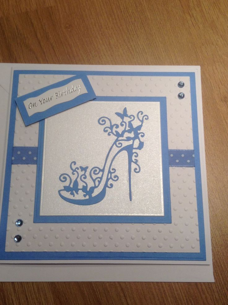 Birthday Card - Essential products for this project can be found on Crafting.co.uk - for all your crafting needs. - Tattered lace glam shoe