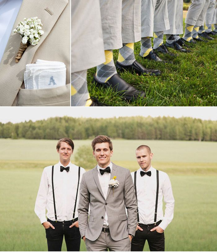 Suspenders and Socks    If you're looking to add a little more flair to your groom's wedding day look, try getting creative with a pair of funky suspenders or socks! Despite the fact that suspenders have become more and more trendy lately, they actually serve a more practical purpose! You're not supposed to wear a belt with a tux, so instead, you should wear suspenders!