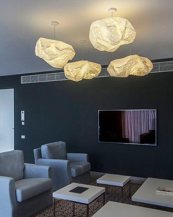 Lampe pendante origami, abat-jour textile blanc, tissu éclairage, 75 X 50 X 25 cm, 29.5X19.6X9.8 inch, accessoire de décoration de maison