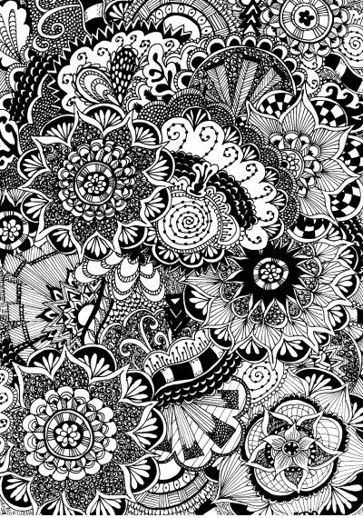 Free coloring page for adults. Flowers with doodles. Zentangle flowers. Gratis kleurplaat voor volwassenen. Bloemen.