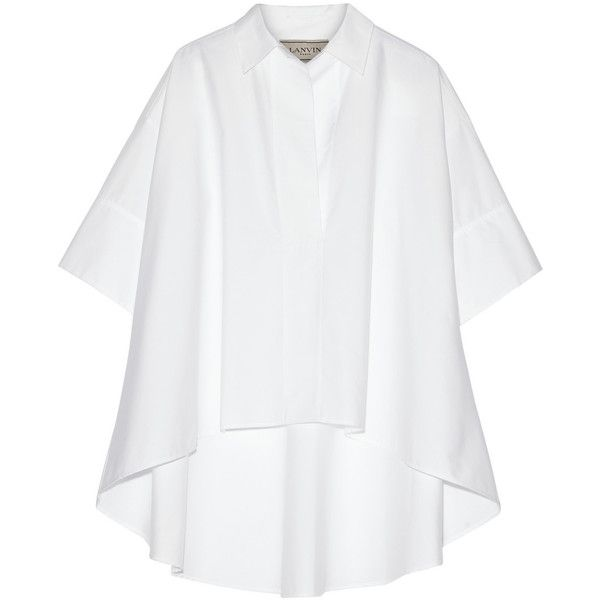 Lanvin Oversized cotton-poplin shirt ($895) ❤ liked on Polyvore featuring tops, white, lanvin shirt, tailored white shirt, cotton poplin shirt, oversized shirt and tailored shirts