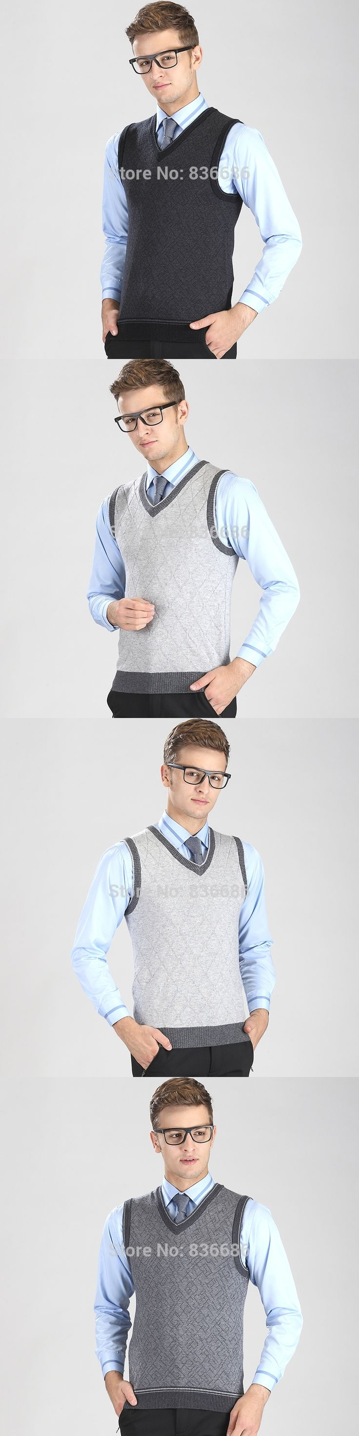 High quality autumn casual men cashmere sweater vest, fashion v-neck striped men sleeveless wool sweater