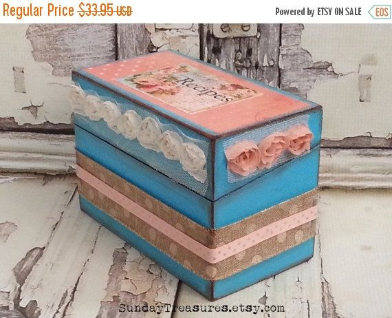HOLIDAY SALE Shabby Chic Wood Recipe Box / Turquoise Coral Pink / Decoupage Box For 4x6 Cards / Housewarming / Bridal Shower Wedding Recipe by SundayTreasures on Etsy