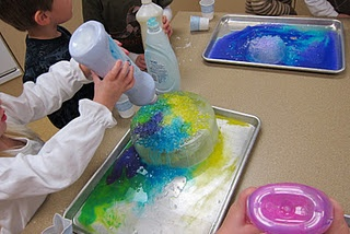 sprinkle salt on ice, then add watered down paint.