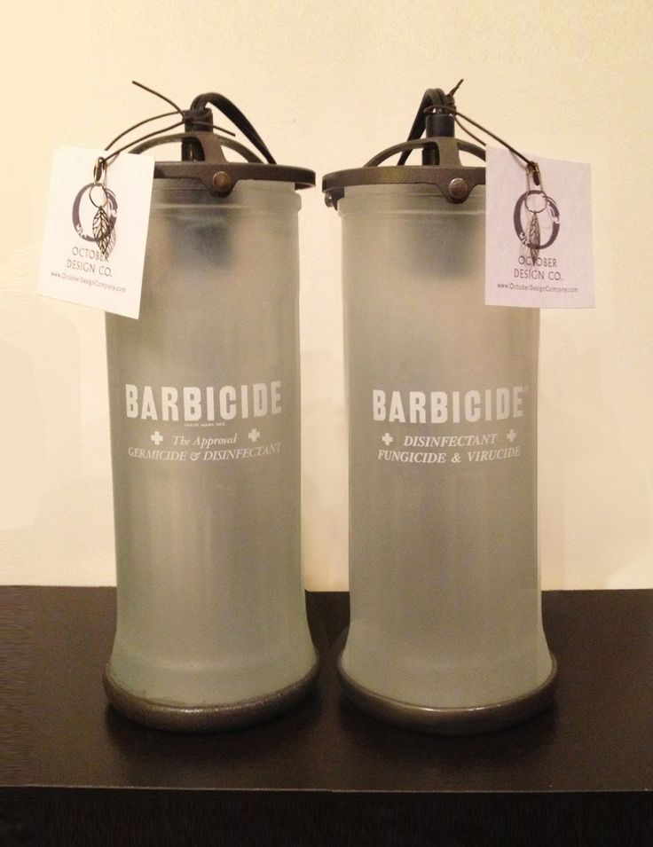 Barbershop lamps from upcycled Barbicide jars, created by Stephanie Reppas, October Design Co. #barbicide #barberjar