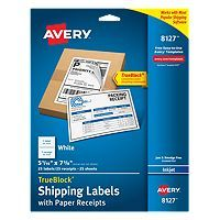 Instead of waiting in line at the Post Office™, just go online—and get your packages ready to ship with Avery White Shipping Labels with Paper Receipts. These labels work with popular internet shipping software and services such as USPS® Click-N-Ship® and Shipping Assistant®, Stamps.com® Online Postage, UPS.com® and Fedex.com®. Efficient design combines the shipping label and paper receipt onto one sheet, so you'll never have to waste another label to print the receipt. Labels feature…