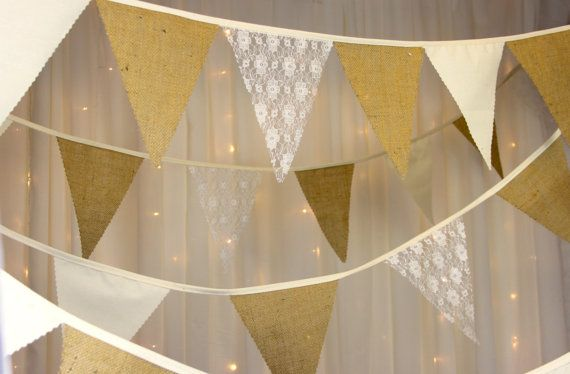 Hessian Lace & Calico Wedding Bunting Banner  ideal by Dollyblue11