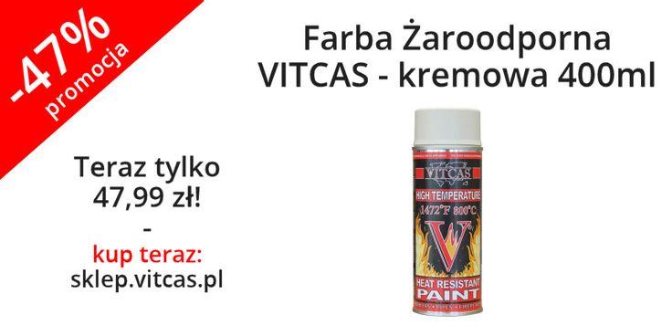 Farba Żaroodporna VITCAS kremowa 400ml teraz niemal o połowę tańsza. Zapraszamy do zakupów: http://sklep.vitcas.pl/pl/p/Farba-Zaroodporna-VITCAS-kremowa-400ml/88