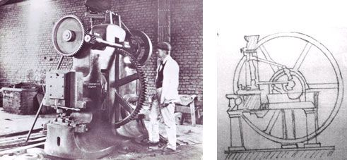 VELDPOND: THE TRUE FACTS PILGRIM'S REST 1902 The big punching machine of TGME compared to Perrin's sketch of 1874