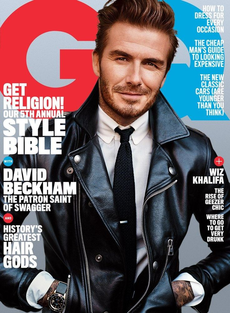 David Beckham covers the April 2016 issue of American GQ in a Tom Ford leather biker jacket.