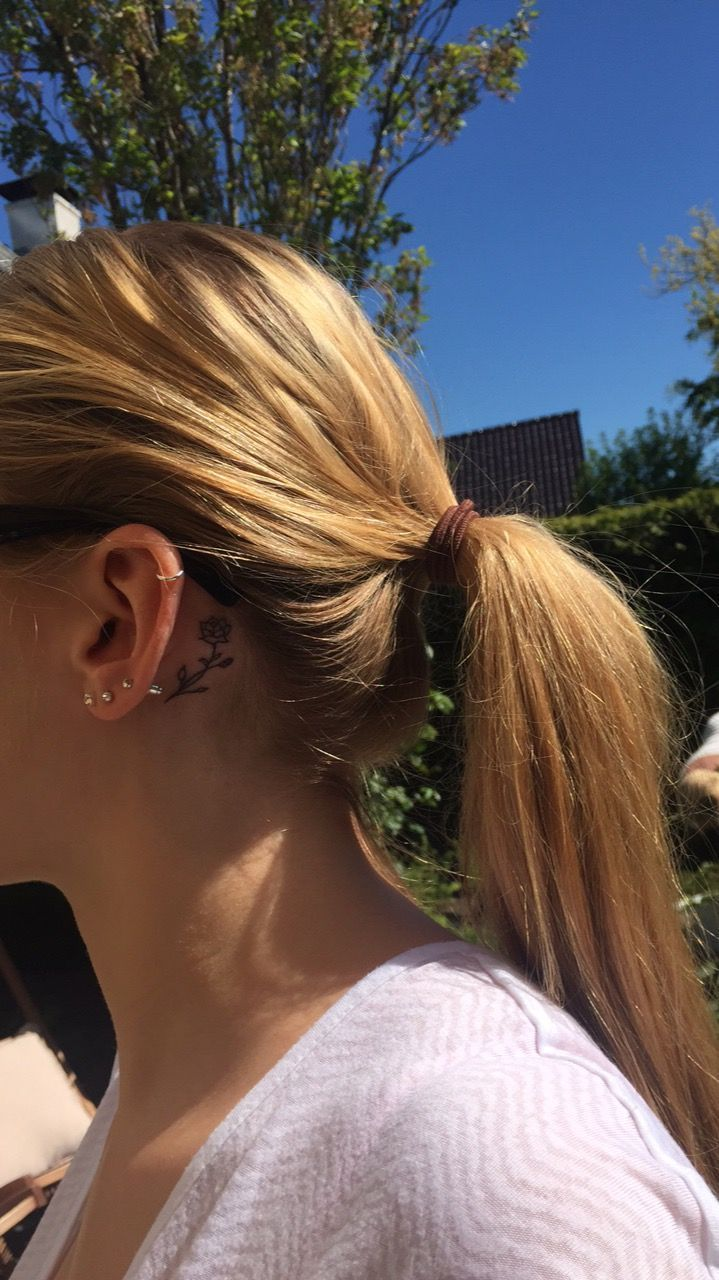 Rose Tattoo Behind Ear Rose Tattoo Behind Ear Ear Rose Tattoo Rose Tattoo Behind Ear Behind In 2020 Behind Ear Tattoos Rose Tattoo Behind Ear Cute Tattoos