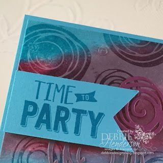 Stampin' Up! Swirly Bird and Confetti Celebration. Clear embossing over a sponged background. Debbie Henderson, Debbie's Designs.