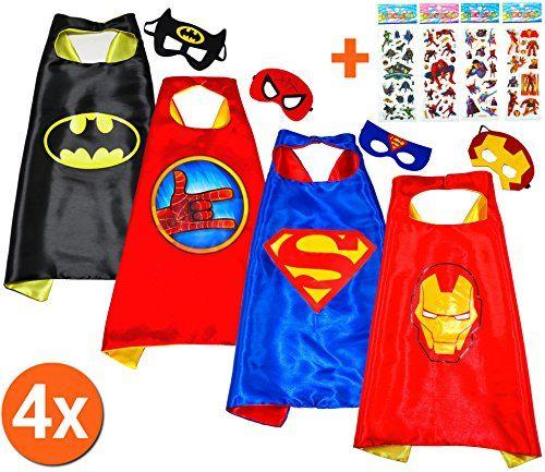 Batman + Superman + Iron Man + Spiderhand (Set 4 Stück) + 4 Aufkleber! Umhänge und Maske - Superhelden-Kostüme Kinder Cape and Mask - Superheroes Spielzeug Verkleiden & Kostüme für Jungen und Mädchen Fasching oder Motto-Partys - King Mungo - KMSC040 #Batman #Superman #Iron #Spiderhand #(Set #Stück) #Aufkleber! #Umhänge #Maske #Superhelden #Kostüme #Kinder #Cape #Mask #Superheroes #Spielzeug #Verkleiden #für #Jungen #Mädchen #Fasching #oder #Motto #Partys #King #Mungo #KMSC