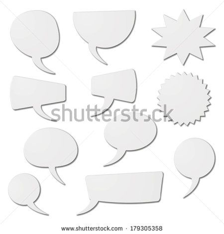 speech bubbles as white cardboard