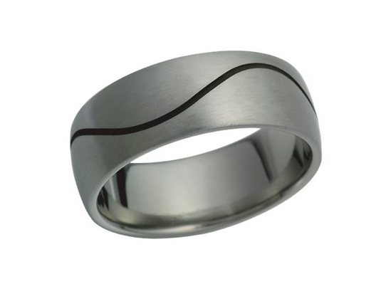 Titanium ring with a blackened continuous wave. The ring has a brushed finish. $410 NZD