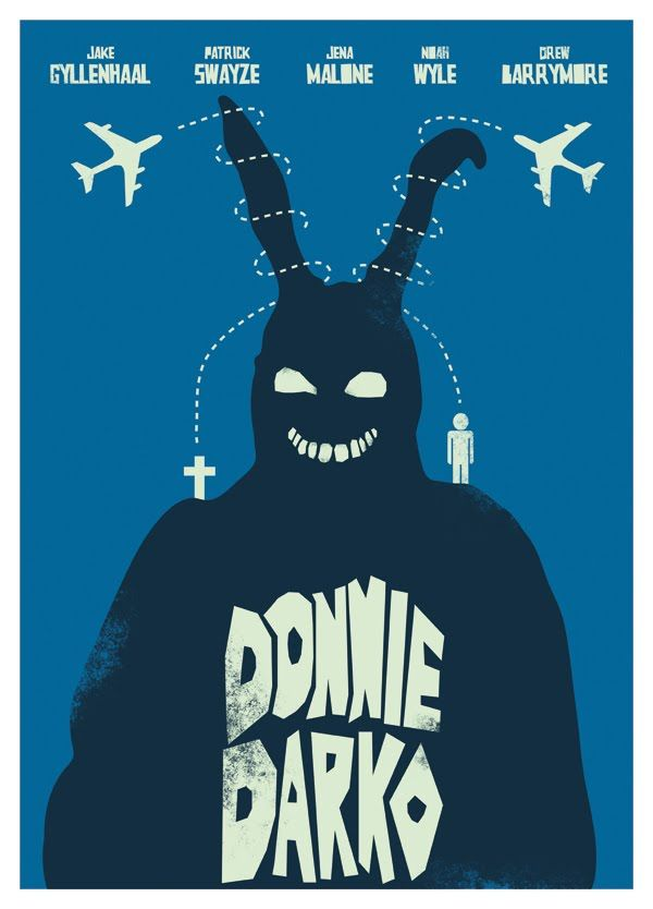 Donnie Darko (2001) - starring Jake Gyllenhaal, Maggie Gyllenhaal, Patrick Swayze & James Duval. 'A troubled teenager is plagued by visions of a large bunny rabbit that manipulates him to commit a series of crimes, after narrowly escaping a bizarre accident.' Time-traveller & cult movie.