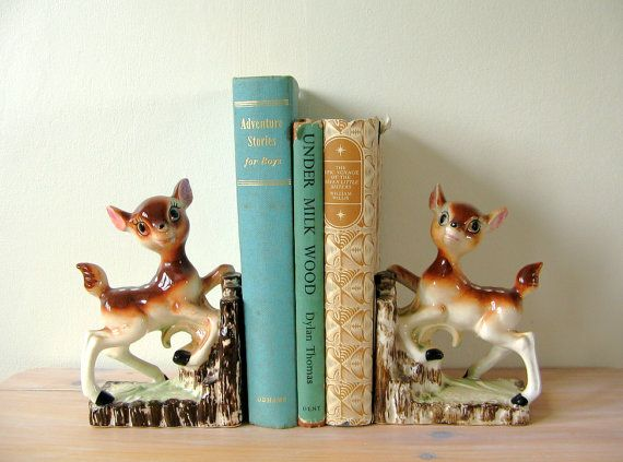 Bambi Fawn Bookends - Vintage Bambi Bookends - Old Bookends - Fawn - Ceramic Deer Fawn Book Ends - Kitsch 50's / 60's Bambi Fawn Deer