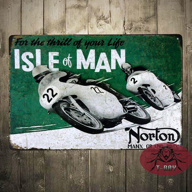 Классический Мотоцикл НОРТОН Isle Of Man TT Гоночный Олово Вход Металл Декор Стены Гараж